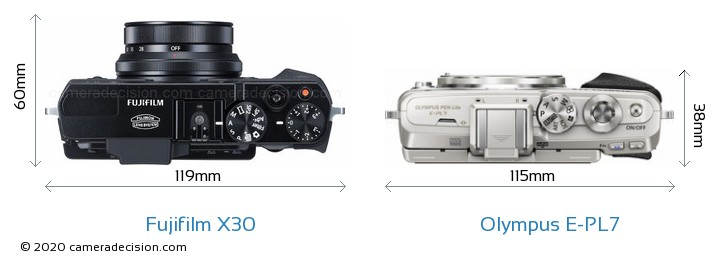 Fujifilm X30 vs Olympus E-PL7 Camera Size Comparison - Top View