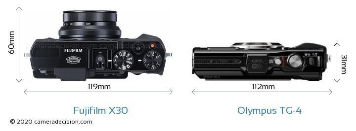 Fujifilm X30 vs Olympus TG-4 Camera Size Comparison - Top View