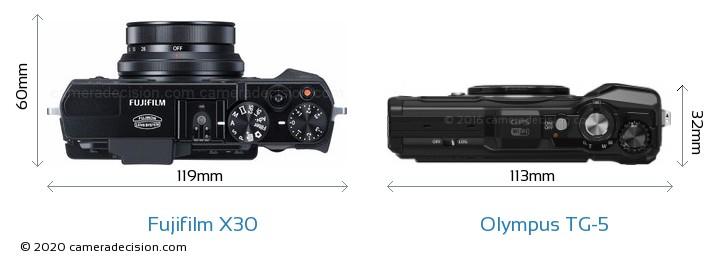 Fujifilm X30 vs Olympus TG-5 Camera Size Comparison - Top View