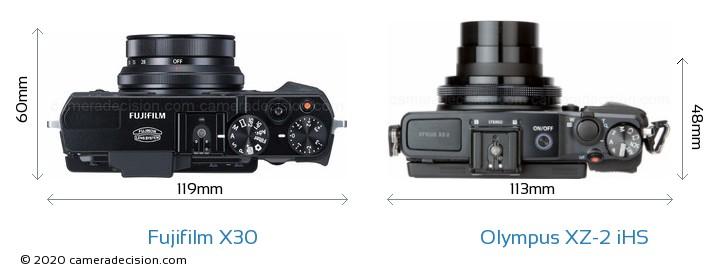 Fujifilm X30 vs Olympus XZ-2 iHS Camera Size Comparison - Top View
