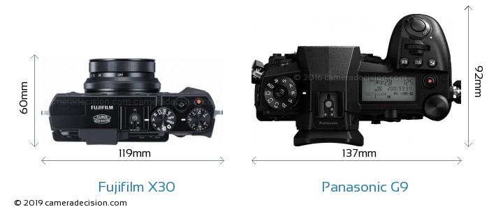 Fujifilm X30 vs Panasonic G9 Camera Size Comparison - Top View
