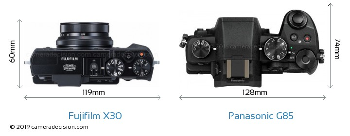 Fujifilm X30 vs Panasonic G85 Camera Size Comparison - Top View