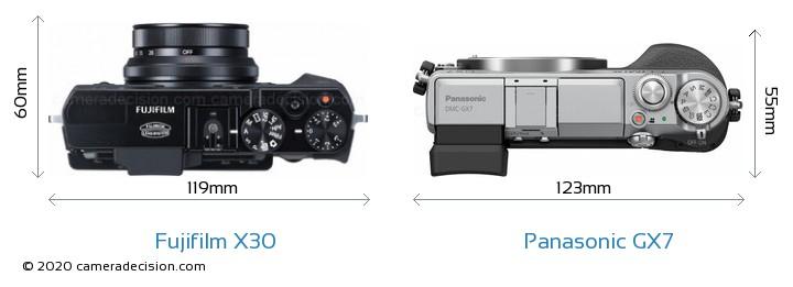 Fujifilm X30 vs Panasonic GX7 Camera Size Comparison - Top View