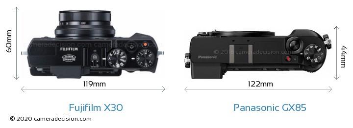 Fujifilm X30 vs Panasonic GX85 Camera Size Comparison - Top View