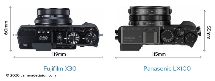 Fujifilm X30 vs Panasonic LX100 Camera Size Comparison - Top View
