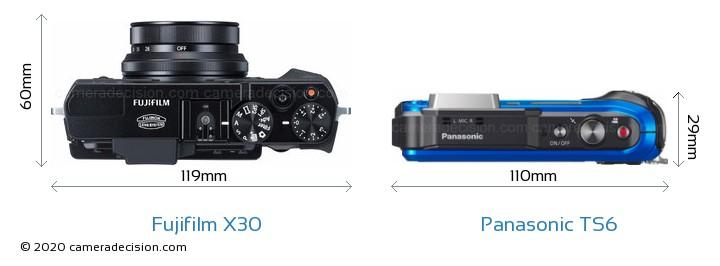 Fujifilm X30 vs Panasonic TS6 Camera Size Comparison - Top View