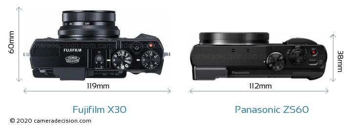 Fujifilm X30 vs Panasonic ZS60 Camera Size Comparison - Top View