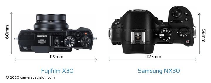 Fujifilm X30 vs Samsung NX30 Camera Size Comparison - Top View
