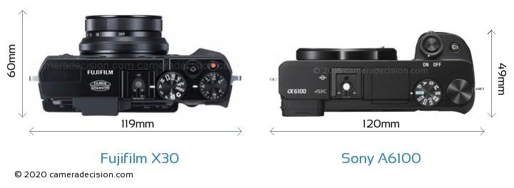Fujifilm X30 vs Sony A6100 Camera Size Comparison - Top View