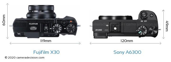 Fujifilm X30 vs Sony A6300 Camera Size Comparison - Top View