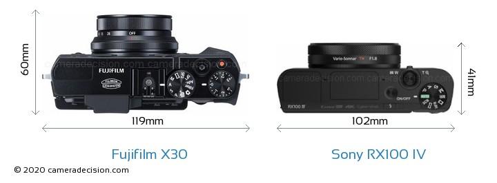 Fujifilm X30 vs Sony RX100 IV Camera Size Comparison - Top View