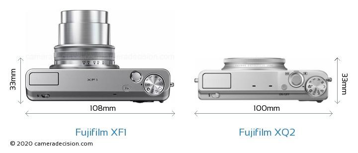 Fujifilm XF1 vs Fujifilm XQ2 Camera Size Comparison - Top View