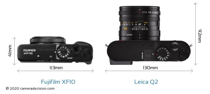 Fujifilm XF10 vs Leica Q2 Camera Size Comparison - Top View