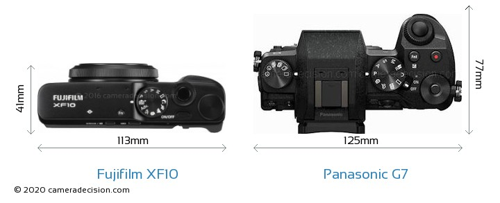 Fujifilm XF10 vs Panasonic G7 Camera Size Comparison - Top View