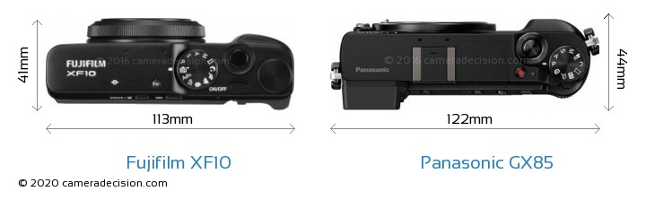 Fujifilm XF10 vs Panasonic GX85 Camera Size Comparison - Top View