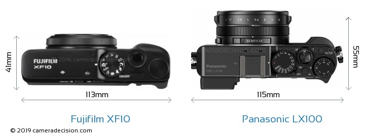 Fujifilm XF10 vs Panasonic LX100 Camera Size Comparison - Top View