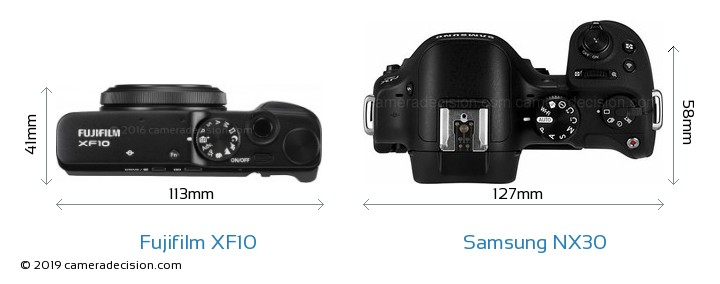 Fujifilm XF10 vs Samsung NX30 Camera Size Comparison - Top View