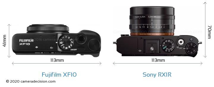 Fujifilm XF10 vs Sony RX1R Camera Size Comparison - Top View