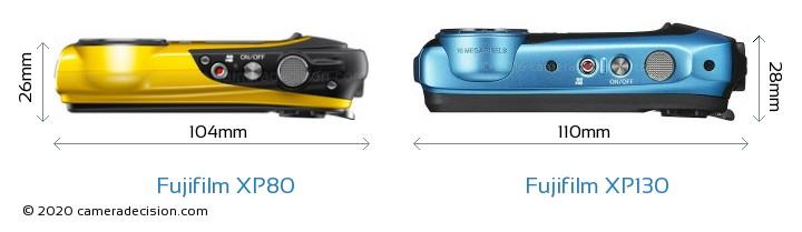 Fujifilm XP80 vs Fujifilm XP130 Camera Size Comparison - Top View