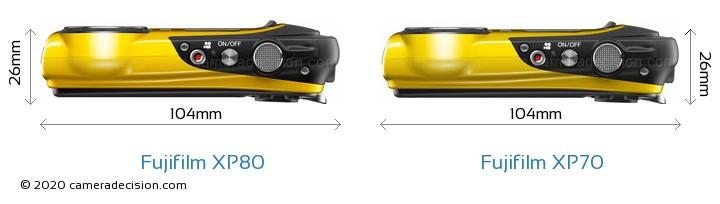 Fujifilm XP80 vs Fujifilm XP70 Camera Size Comparison - Top View