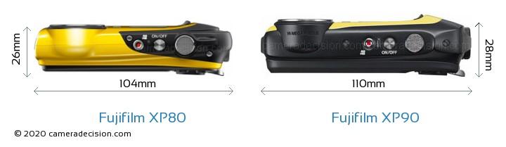 Fujifilm XP80 vs Fujifilm XP90 Camera Size Comparison - Top View
