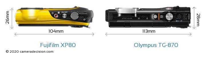 Fujifilm XP80 vs Olympus TG-870 Camera Size Comparison - Top View