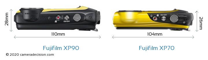 Fujifilm XP90 vs Fujifilm XP70 Camera Size Comparison - Top View