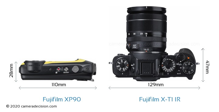 Fujifilm XP90 vs Fujifilm X-T1 IR Camera Size Comparison - Top View