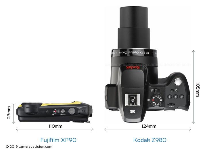 Fujifilm XP90 vs Kodak Z980 Camera Size Comparison - Top View