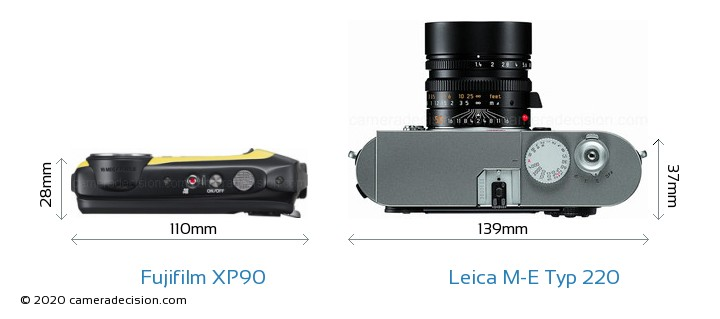 Fujifilm XP90 vs Leica M-E Typ 220 Camera Size Comparison - Top View