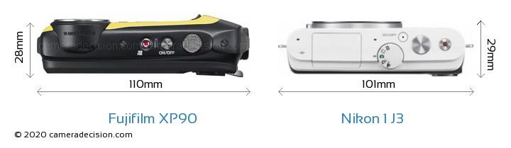 Fujifilm XP90 vs Nikon 1 J3 Camera Size Comparison - Top View