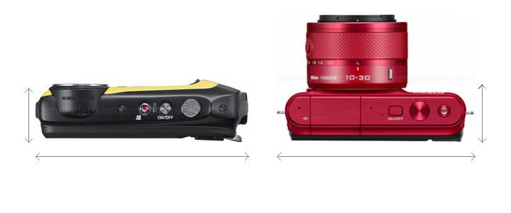 Fujifilm XP90 vs Nikon 1 S1 Camera Size Comparison - Top View