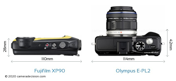 Fujifilm XP90 vs Olympus E-PL2 Camera Size Comparison - Top View