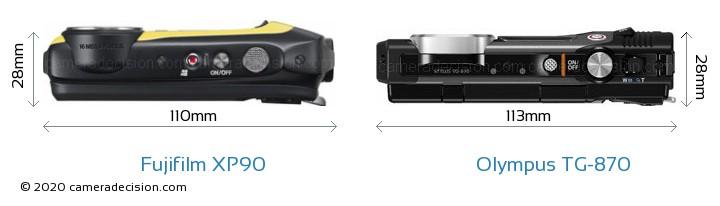 Fujifilm XP90 vs Olympus TG-870 Camera Size Comparison - Top View