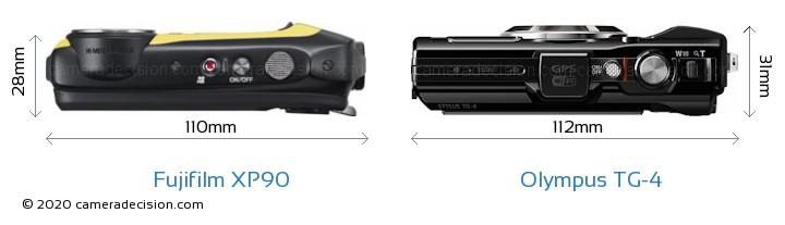 Fujifilm XP90 vs Olympus TG-4 Camera Size Comparison - Top View