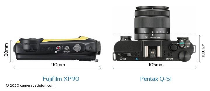 Fujifilm XP90 vs Pentax Q-S1 Camera Size Comparison - Top View