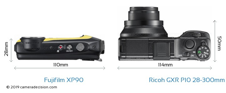 Fujifilm XP90 vs Ricoh GXR P10 28-300mm F3.5-5.6 VC Camera Size Comparison - Top View