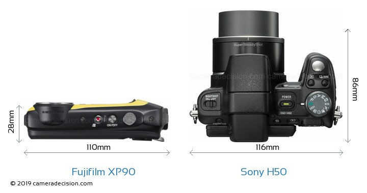 Fujifilm XP90 vs Sony H50 Camera Size Comparison - Top View