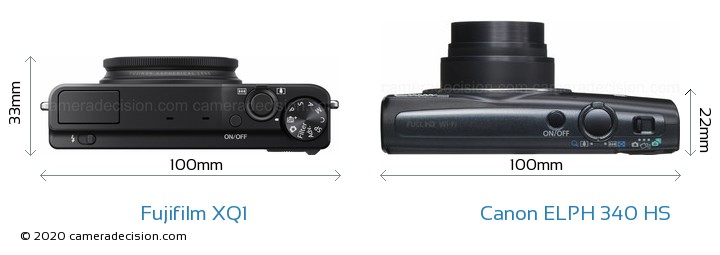 Fujifilm XQ1 vs Canon ELPH 340 HS Camera Size Comparison - Top View