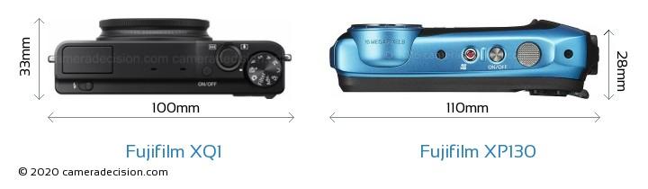 Fujifilm XQ1 vs Fujifilm XP130 Camera Size Comparison - Top View