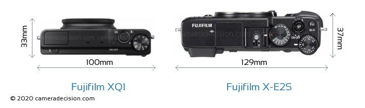 Fujifilm XQ1 vs Fujifilm X-E2S Camera Size Comparison - Top View