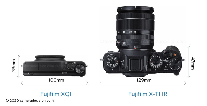 Fujifilm XQ1 vs Fujifilm X-T1 IR Camera Size Comparison - Top View