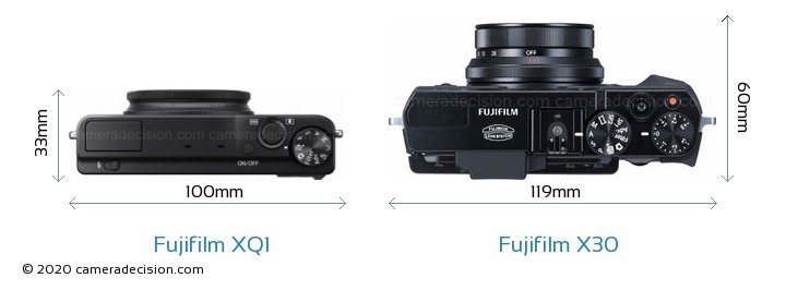 Fujifilm XQ1 vs Fujifilm X30 Camera Size Comparison - Top View