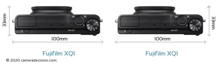 Fujifilm XQ1 vs Fujifilm XQ1 Camera Size Comparison - Top View