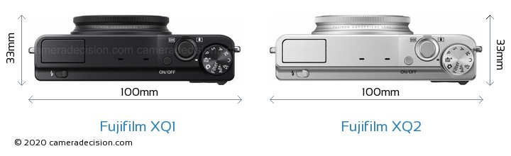 Fujifilm XQ1 vs Fujifilm XQ2 Camera Size Comparison - Top View