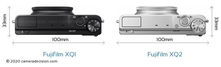 Fujifilm XQ1 vs Fujifilm XQ2 Camera Size Comparison - Top View