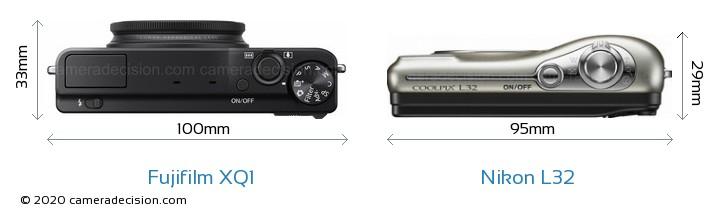 Fujifilm XQ1 vs Nikon L32 Camera Size Comparison - Top View