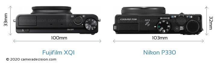 Fujifilm XQ1 vs Nikon P330 Camera Size Comparison - Top View