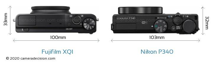 Fujifilm XQ1 vs Nikon P340 Camera Size Comparison - Top View