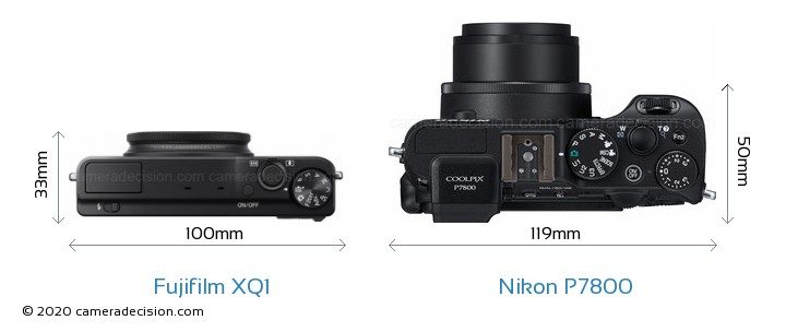 Fujifilm XQ1 vs Nikon P7800 Camera Size Comparison - Top View